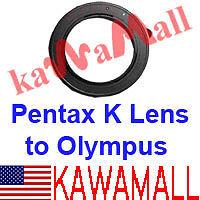 Pentax K lens Olympus E-500 E-330 E-300 E-1 Adapter NEW