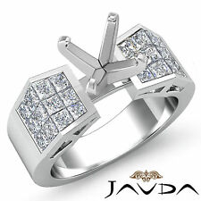 Diamond Engagement Princess Round Semi Mount Elegant Ring Platinum 950 0.84Ct