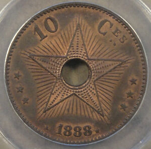 Belgian Congo 1888 10 Centimes ANACS Certified MS64 RB Nice!