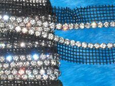 "2 yards 4 mm crystal rhinestone on 3/4"" width black mesh netting"
