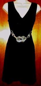Black Sleeveless V Neck Dress With Silver Tone Belt Junior Size M Medium New