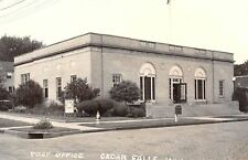 Cedar Falls Iowa~Post Office~Fire Hydrant~Sign~Driveup Mail Dropbox RPPC c1950