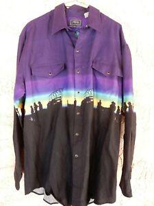 Roper Brand snap button western shirt size XL purple & black long sleeve