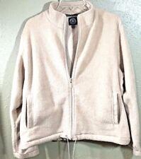 Carolyn Taylor Women's Beige Fleece Jacket Coat Size XL Full Zip Drawstring EUC