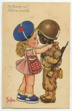 c 1944 WW French photo postcard WWII BLACK SOLDIER w/ White French Girl postcard