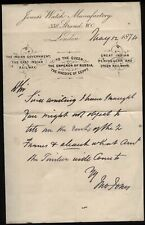 More details for 1874 john jones's - watch manufactory, 338 strand, london autograph letter