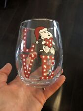 Peanuts Gang Snoopy Christmas Love Stemless Wine Glass Valentines