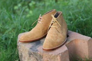 Handmade Mens Beige Color Suede Chukka Boots, Mens Casual ankle Chukka boot