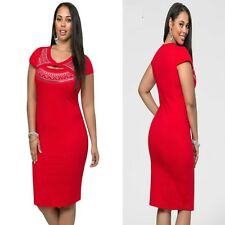 Red Cap Sleeve Bodycon Cocktail Formal Party Sexy Slim Midi Dress Plus Sz 14 16