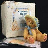 VTG Enesco Cherished Teddies Figurine Christy Bear with Hat 128023 Love 1995