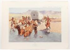 Vintage FREDERIC REMINGTON The Emigrants Cowboys Indians Americana LITHO #256T