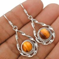 Natural Tiger Eye 925 Solid Sterling Silver Earrings Jewelry IT8-7
