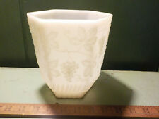 Fire King Opaque White Milk Glass Vase 6 sided Raised Grapevine Vintage 6.5""