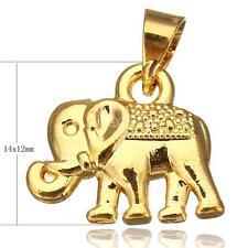 Vintage 24K Real Gold Plated Pendant no Necklace Chain Bracelet Elephant 14x12x3