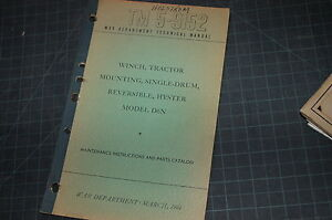 TM 5-9152 CAT D6N Hyster Winch Owner Operator Operation Maintenance Parts Manual