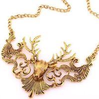 Vintage Retro Deer Womens Bib Choker Statement Chain Jewelry Pendant Necklace