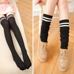 Fashion Thigh High Over Knee High Socks Girls Women Long Cotton Stockings FW