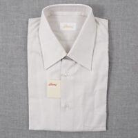 NWT $615 BRIONI Subtle Patterned Short Sleeve Cotton Dress Shirt 15 Classic-Fit