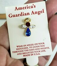 OSC Red White Blue America's Guardian Angel Tie Tack Pin Original Card Patriotic
