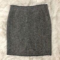 Tahari Size 4 Wool Blend Pencil Sweater Skirt Career Gray Blue Tweed -I