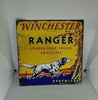"Winchester Ranger Dog Gun Hunting Mancave Metal Sign Repro 12x12"" 60698"