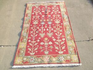 """vintage Red Oriental Rug with Fringe 73""""x46"""" good quality & in good shape"""