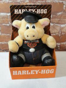 "Vtg Harley Davidson 7"" Hog Plush In Box~no tag~play by play~Cute~mancave~90's"