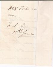 GEN. SIR WILLIAM FENWICK c1859 AUTOGRAPH NOTE - CRIMEAN WAR & LT GOV NOVA SCOTIA