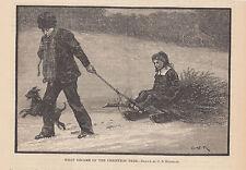 TERRIER DOG CHILDREN BRINGING HOME CHRISTMAS TREE ON SLED ANTIQUE ART PRINT 1879