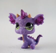 Littlest Pet Shop LPS #2660 Purple Glitter Dragon Green Eyes Animal Girl Toys