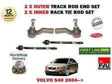 FOR VOLVO S40 2004- NEW 2x INNER & 2x OUTER STEERING TRACK RACK TIE ROD END SET