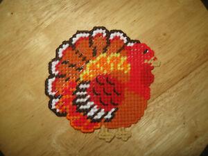 Colorful Turkey Coaster Ornament Thanksgiving Plastic Canvas Handmade