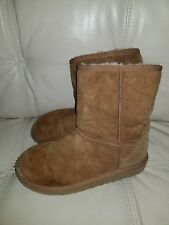 Tan UGG Boots Girl Size 3 chestnut uggs shoes short 100% authentic 5251