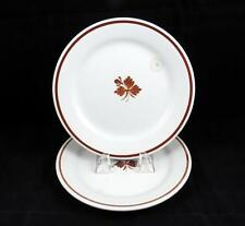 """WEDGWOOD AND CO 2 PC IRONSTONE COPPER TEA LEAF 8 3/4"""" LUNCHEON PLATES 1862-1900"""