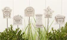 Set of 6 - Herb Garden Marker Picks - Polystone & Iron Material - Granite Finish
