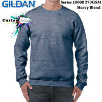 Gildan Heather Sport Dark Navy Heavy Basic Sweater Jumper Sweatshirt Mens