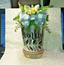 CRAFTED DECORATIVE GALVANIZED PLANTER   WITH  SAYING -(THANKFUL)