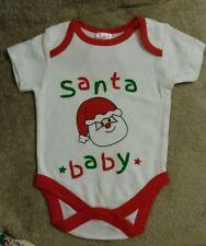 "BABY GIRLS BOYS CHRISTMAS BODYSUIT. ""SANTA BABY"" PRINTED SANTA. 3-6 MONTHS.NEW"