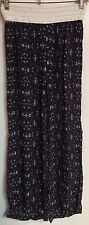 Justify Black Purple Pink Elastic Waist 100% Rayon Pants Size Small S