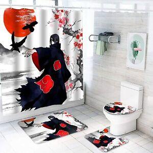 Naruto0 Bathroom Rugs Set 4PCS Shower Curtain Non-Slip Toilet Seat Cover Decor
