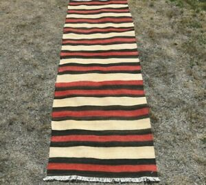 Stripe Design Beige Runner Rug Anatolian Hand Knotted Oushak Kilim Carpet 2x4 ft