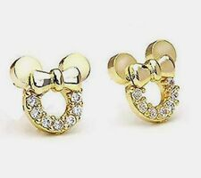 Women &Girls Mickey or Minnie Mouse 14K Gold Over Solid Silver Cz Stud Earrings