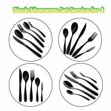 20pc Flatware Cutlery Sets Black Silverware Set Stainless Steel Knife Fork Spoon