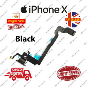 New iPhone X 10 Charging Port Flex Headphone Jack Mic Replacement Black