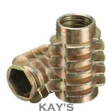 THREADED WOOD INSERTS M4 M6 M8 HEX SCREW DRIVE FIXING NUTS TYPE E (ALL SIZES)
