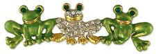 Triple Frog Green Crystal Rhinestone Brooch Pin MADE WITH SWAROVSKI ELEMENTS
