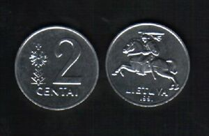 LITHUANIA 2 CENTAI KM-86 1991 x 100 Pcs Lot EURO HORSE RIDER UNC CURRENCY COIN
