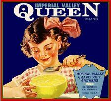 El Centro Imperial Valley Queen Grapefruit Citrus Fruit Crate Label Art Print