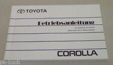 Betriebsanleitung Handbuch Toyota Corolla E100 Stand 1993