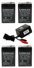 4 PACK 6VOLT 4.5AH RECHARGEABLE GAME FEEDER SEALED 6V SLA BATTERY & WALL CHARGER